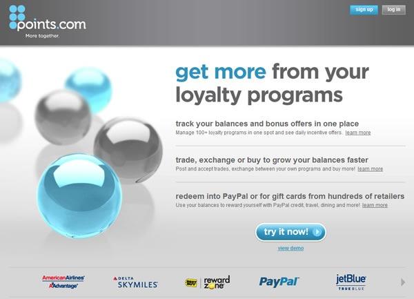 Screenshot of Points.com's site