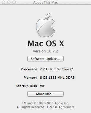 """About this Mac"" window displaying 8GB 1333MHz DDR RAM"