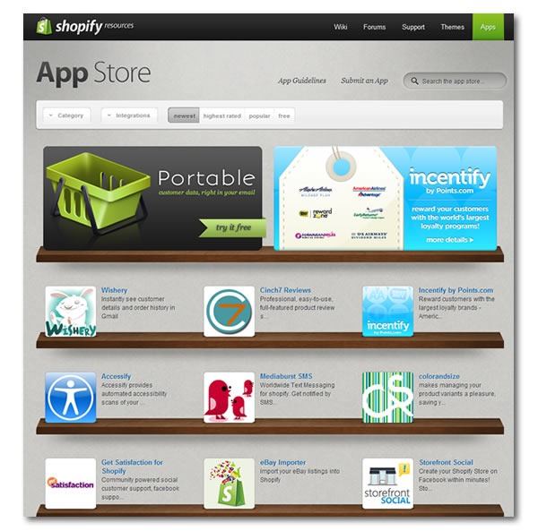 Screenshot of Shopify's App Store