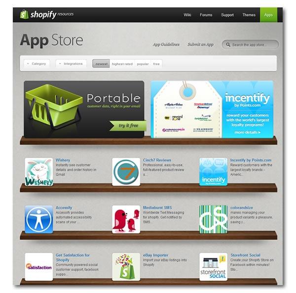 Screenshot of Shopify's App Store