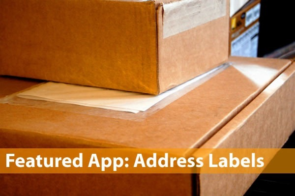 """Featured App: Address Labels"": Picture of shipping boxes"