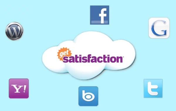 Logos: Get Satisfaction, WordPress, Facebook, Google, Yahoo!, Bing and Twitter