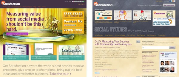 """Screenshots of the Get Satisfaction main page and of the Get Satisfaction blog """"Social Studies"""""""