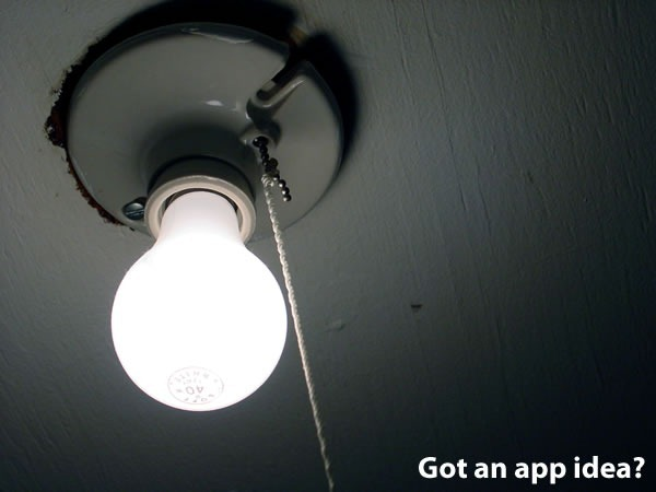 """Got an App Idea?"": lightbulb"