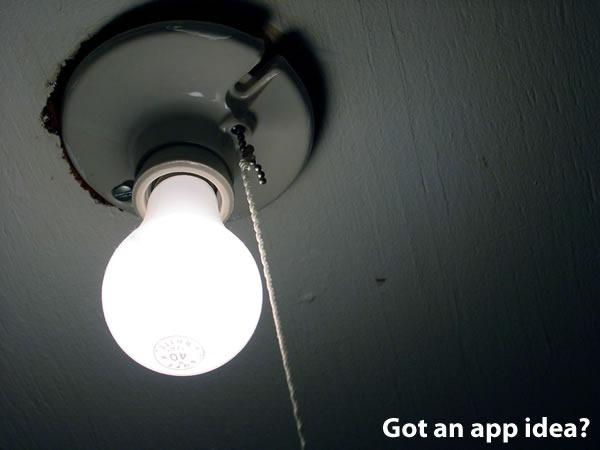 """""""Got an App Idea?"""": lightbulb"""