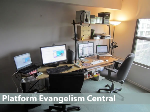 Platform evangelism central: photo of Joey deVilla's home office