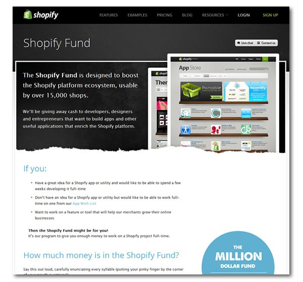Screenshot of the Shopify Fund page