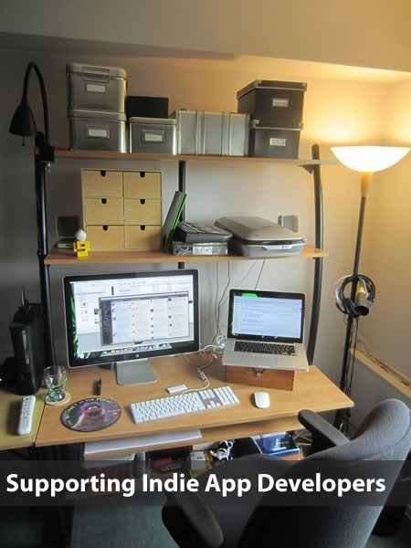 """Supporting indie app developers"": Photo of a software developer's home office"