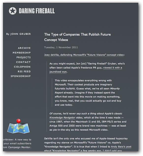 "Screenshot of Daring Fireball article ""The Type of Companies That Publish Future Concept Videos"""