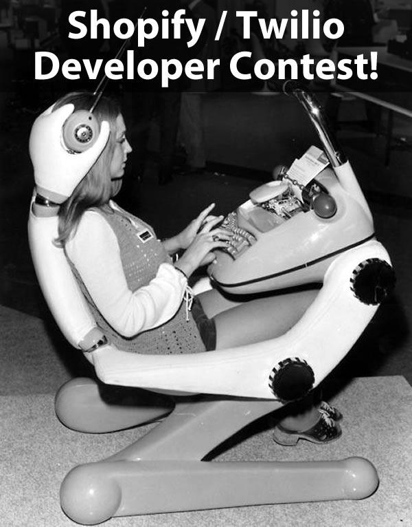 """""""Shopify/Twilio Developer Contest"""": 1960s photo of a woman at a """"futuristic"""" computer console"""