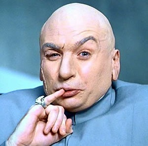 """Dr. Evil"" from ""Austin Powers"", touching his lips with his pinky"