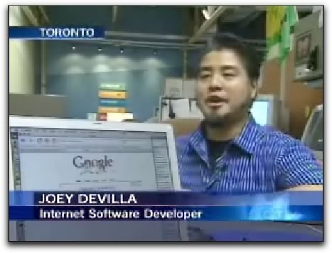"Joey deVilla on CTV News with the caption ""Joey deVilla: Internet Software Developer"""