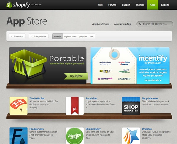 Screenshot of the Shopify App Store, with Portable as a featured app