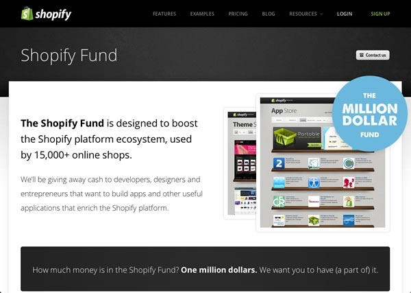 Screen capture of the Shopify Fund page