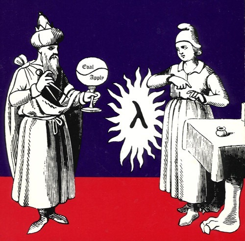 "Illustration of ancient mathematicians from the cover of ""Structure and Interpretation of Computer Programs"""