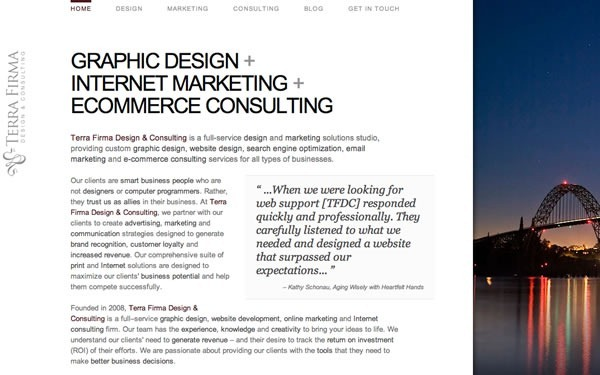 Screenshot of Terra Firma Design and Consulting's web page