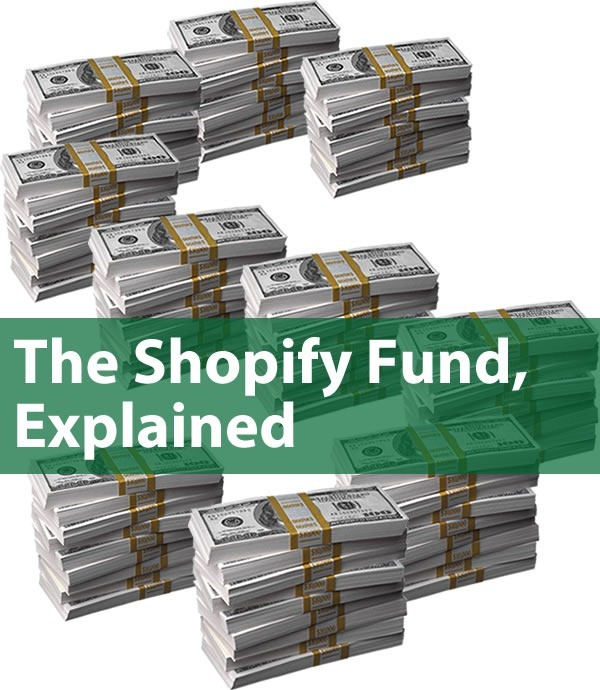"""The Shopify Fund, Explained"": stacks of $100 bills arranged into an ""S"" shape"