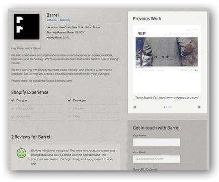 Screenshot of a profile page for a Shopify Expert