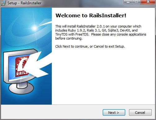 "RailsInstaller wizard: ""Welcome to RailsInstaller!"""