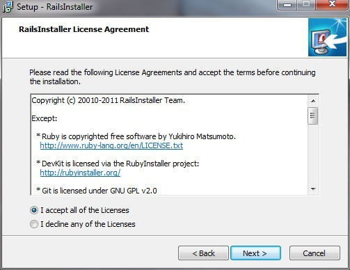 RailsInstaller wizard, License Agreement screen