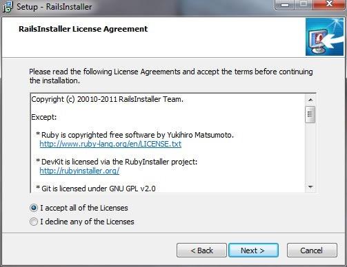 RailsInstaller wizard, License Agreement screen