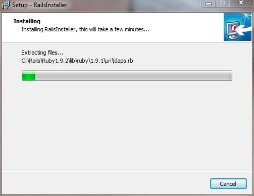 "RailsInstaller wizard, ""Installing"" screen, with progress bar showing about 1/10 done"