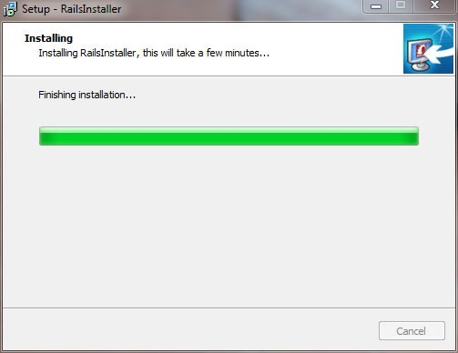 "RailsInstaller wizard, ""Installing screen"", with progress bar about 90% done"
