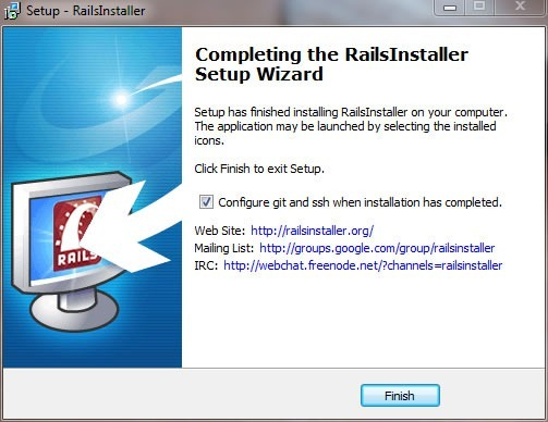 "RailsInstaller wizard, ""Completing the RailsInstaller Setup Wizard"" screen"
