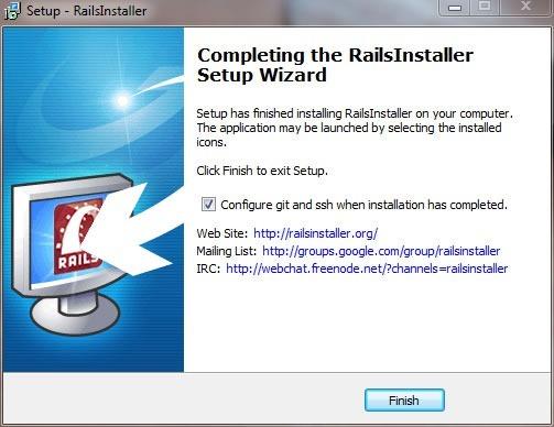 """RailsInstaller wizard, """"Completing the RailsInstaller Setup Wizard"""" screen"""
