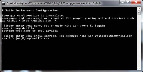 RailsInstaller wizard, configuring git
