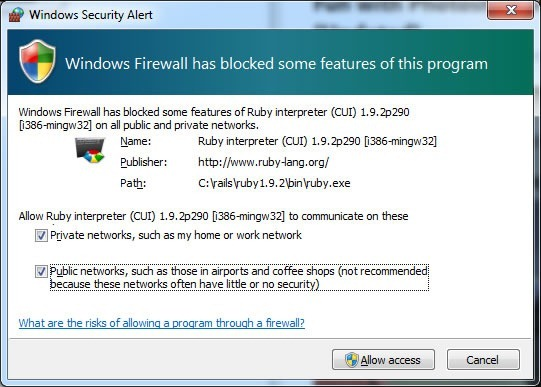"Screenshot of the ""Windows Firewall has blocked some features of your program"" window."