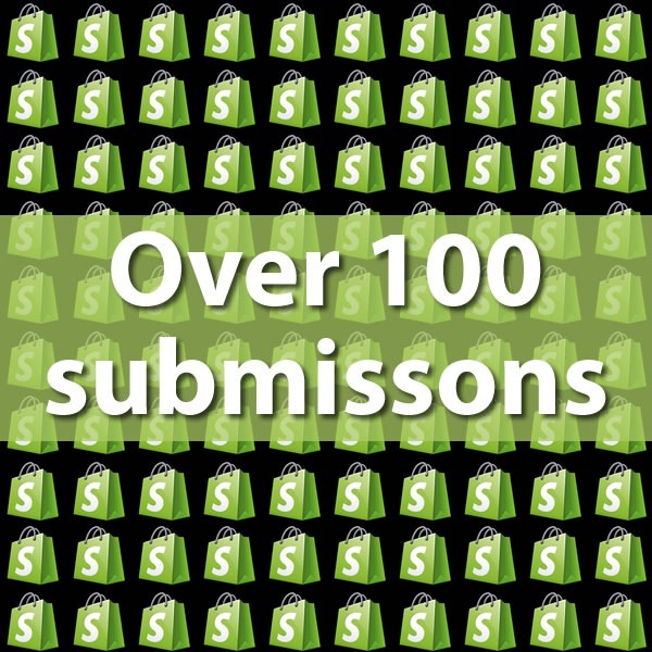 """""""Over 100 Submissions"""": graphic featuring 100 Shopify """"bag"""" logos"""