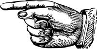 Woodcut artwork of a hand pointing to the left