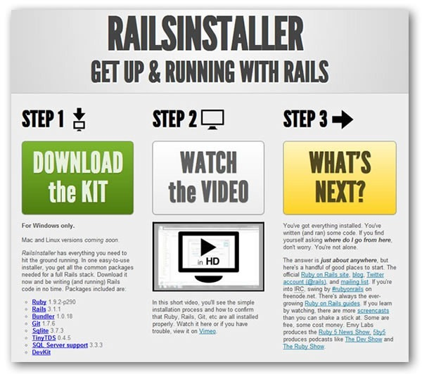 Screenshot of Rails installer site