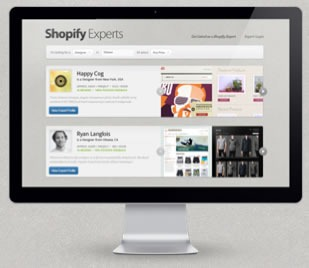 Monitor displaying the Shopify Experts page