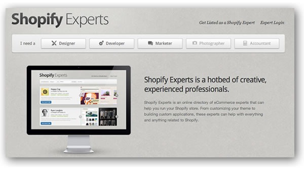 "Screenshot of the ""Shopify Experts"" main page"