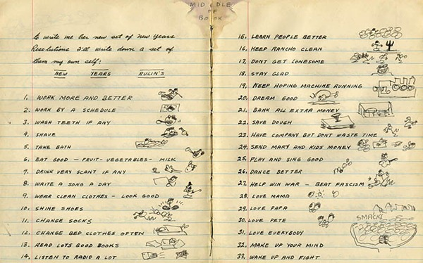 Woody Guthrie's New Year Resolutions 1942