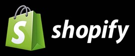 Shopify logo on black background