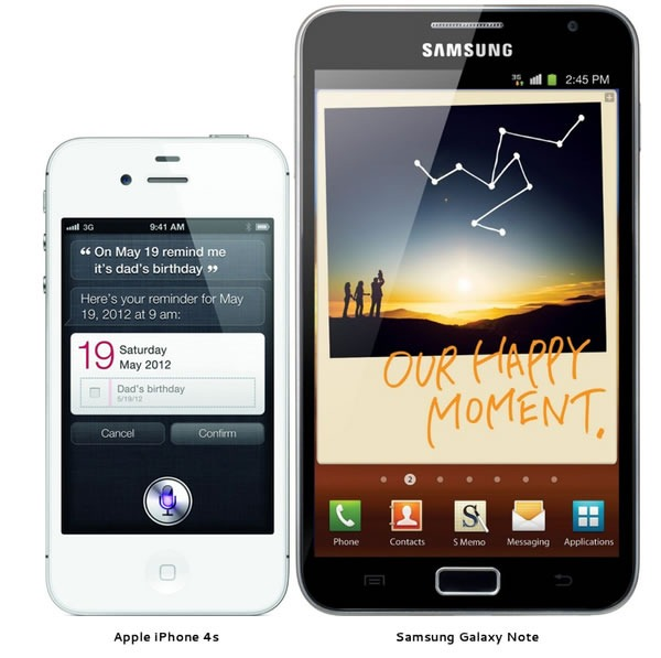 iPhone 4s Samsung Galaxy Note side by side