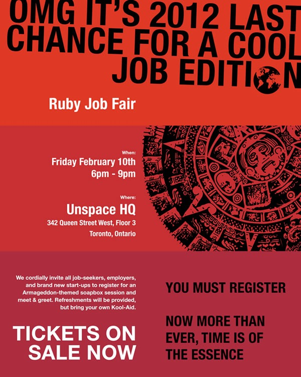 Poster for Ruby Job Fair: Friday, February 10th, 6 - 9 p.m., Unspace HQ, 342 Queen Street West, floor 3, Toronto, Ontario.
