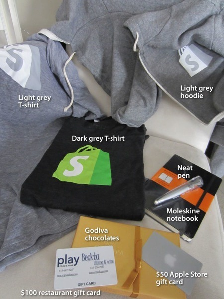 Light grey Shopify T-shirt, dark grey Shopify T-shirt, light grey Shopify hoodie, $100 restaurant gift card, $50 Apple Store gift card, Godiva chocolates, Moleskine notebook, neat pen