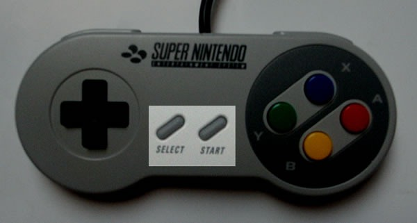 super nintendo controller select start
