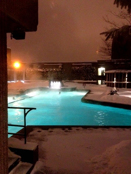 The Hilton Bonaventure's rooftop outdoor pool in winter, with steam rising from the water.