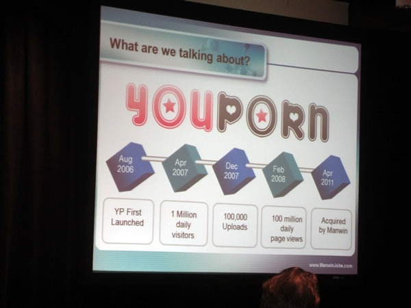 "YouPorn slide: ""YP first launched Aug 2006 / 1 million daily visitors Apr 2007 / 100,000 uploads Dec 2007 / 100 million daily pageviews Feb 2008 / Acquired by Manwin Apr 2011"""