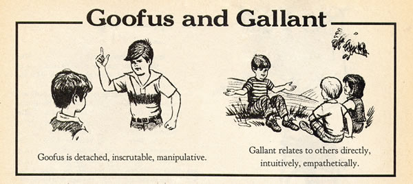 """Goofus and Gallant"" comic: ""Goofus is detached, inscrutable, manipulative / Gallant relates to others directly, intuitively, empathetically."""