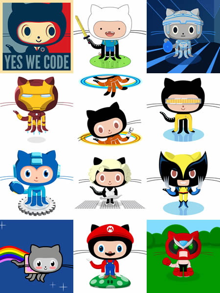 """Octocat"" in various costumes"