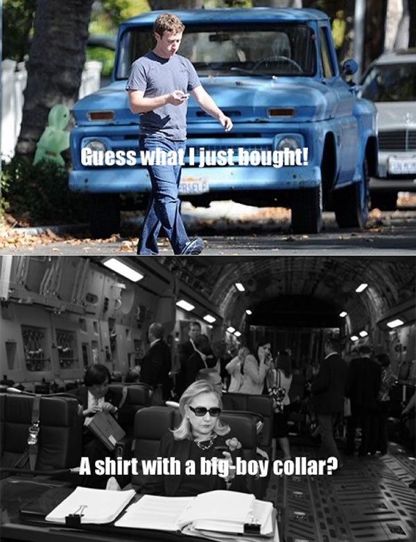 "Photo 1: Zuckerberg in jeans a t-shirt, crossing the street, texting ""Guess what I just bought"". Photo 2: Hillary Clinton in Air Force One, texting: ""A shirt with a big-boy collar?"""