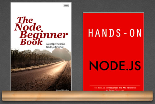 Covers of 'The Node Beginner Book' and 'Hands-On Node.js'
