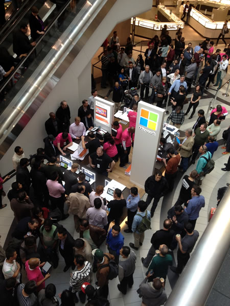 Microsoft's pop-up store at the Toronto Eaton Centre, seen from above