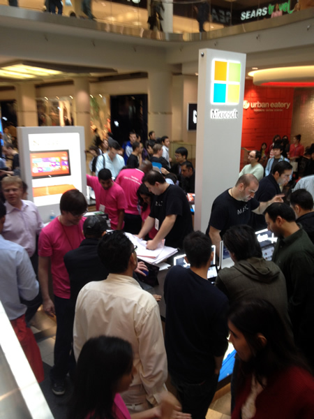 Crowd gathered at Microsoft's Surface pop-up store at the Toronto Eaton Centre